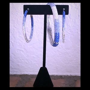 Jewelry - Royal blue and silver clamp bracelet and earrings